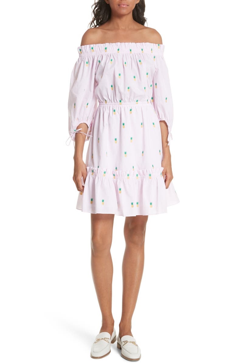 KATE SPADE NEW YORK pineapple off the shoulder cotton dress, Main, color, 665