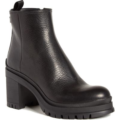 Prada Lug Sole Leather Bootie, Black