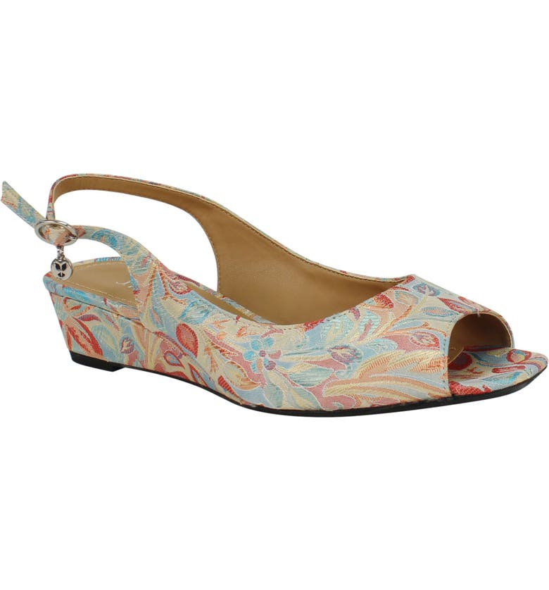 J. RENEÉ Alivia Slingback Wedge Sandal, Main, color, TEAL MULTI FABRIC