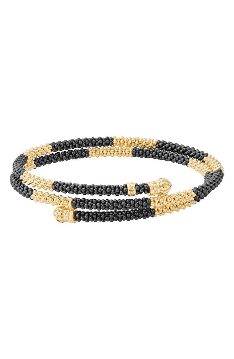 LAGOS Gold & Black Caviar Coil Bracelet, Main, color, 710
