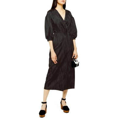 Topshop Jacquard Midi Dress, US (fits like 2-4) - Black