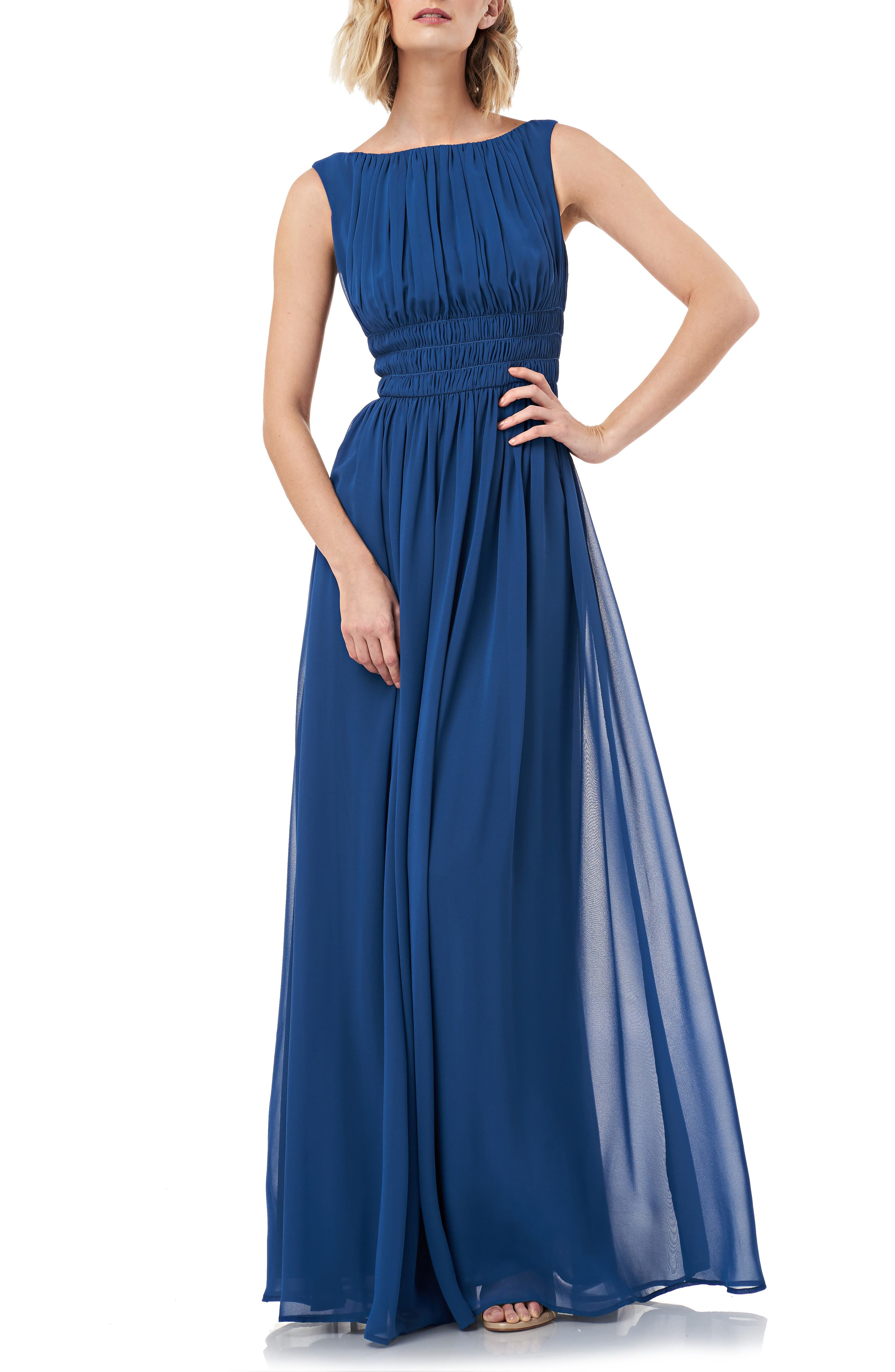 Kay Unger Sleeveless Fit & Flare Chiffon Evening Gown, Blue/green