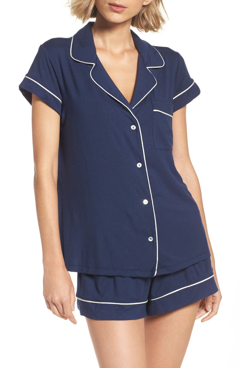 EBERJEY 'Gisele' Shorty Pajamas, Main, color, NAVY/ IVORY