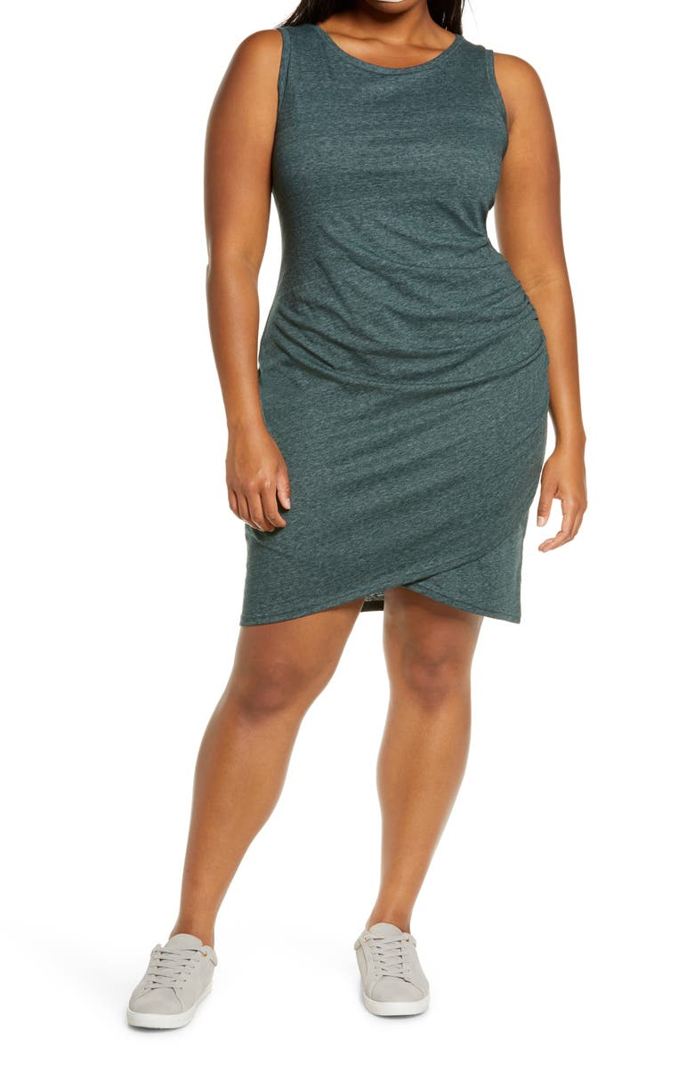 LEITH Ruched Sheath Dress, Main, color, GREEN GABLES HEATHER