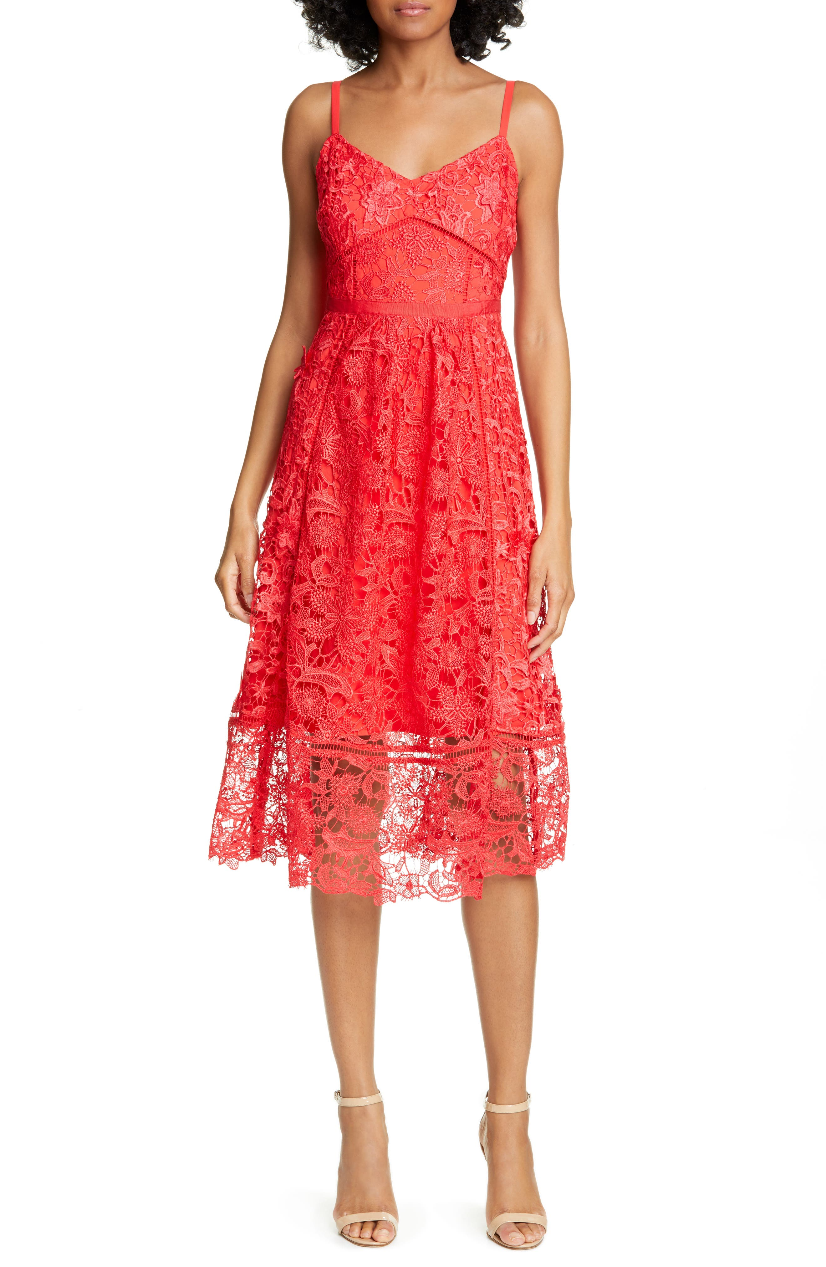 Ted Baker London Valens Lace Midi Dress, Red