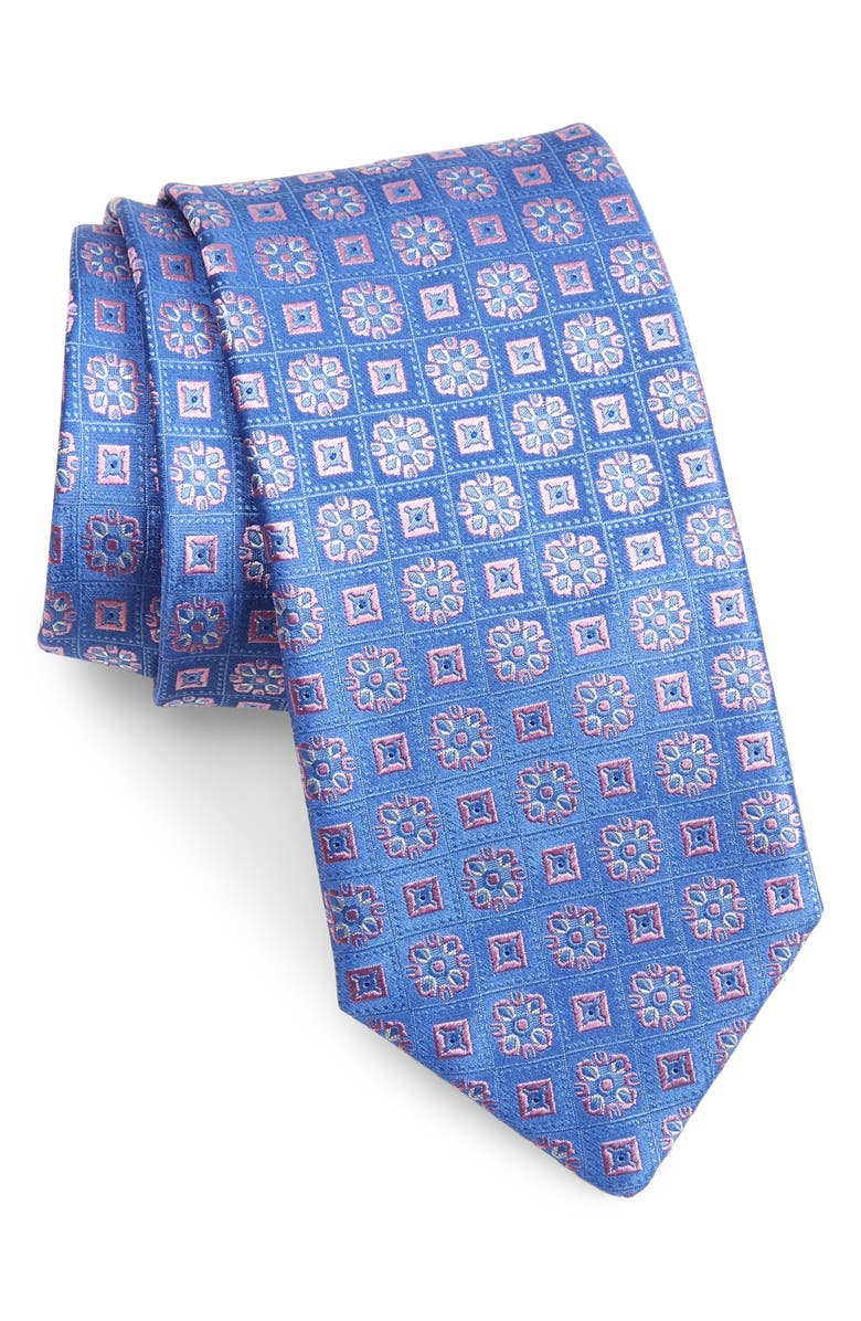 CANALI Medallion Silk Tie, Main, color, BLUE