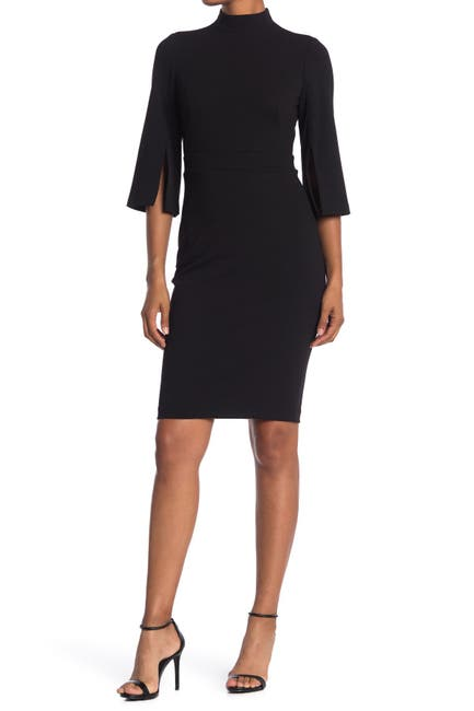 Image of Calvin Klein Mock Neck Sheath Dress