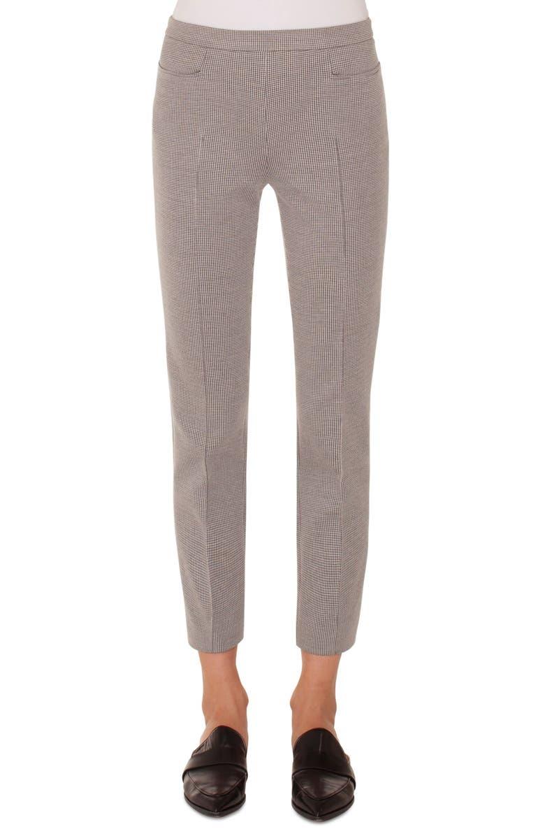 AKRIS PUNTO Franca Mini Gingham Pants, Main, color, BLACK/ CREAM