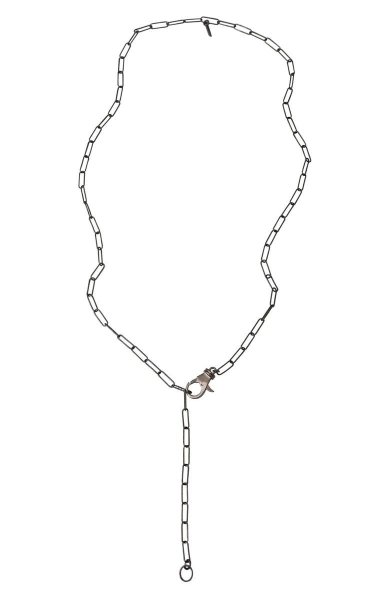 ADORNIA Lock Paper Clip Link Lariat Necklace, Main, color, SILVER