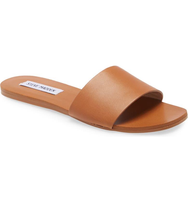 STEVE MADDEN Nikini Slide Sandal, Main, color, COGNAC LEATHER