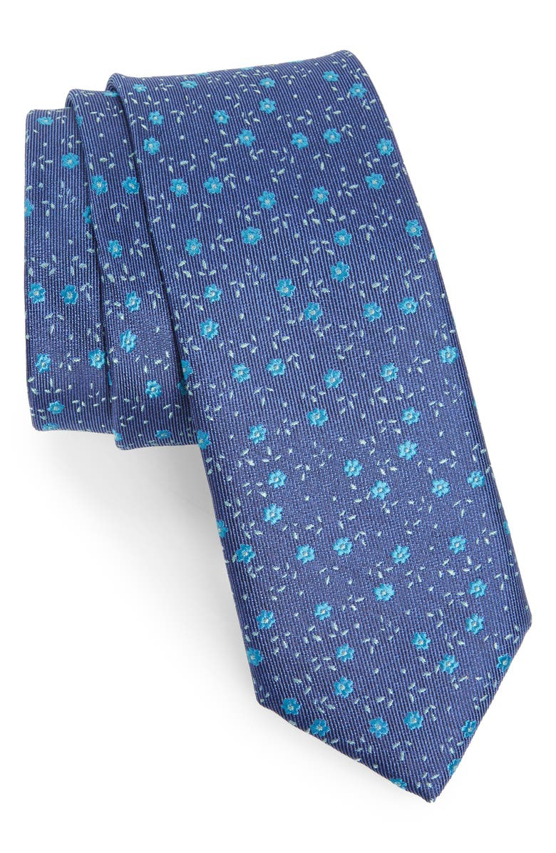 NORDSTROM MEN'S SHOP Parker Floral Silk Skinny Tie, Main, color, AQUA