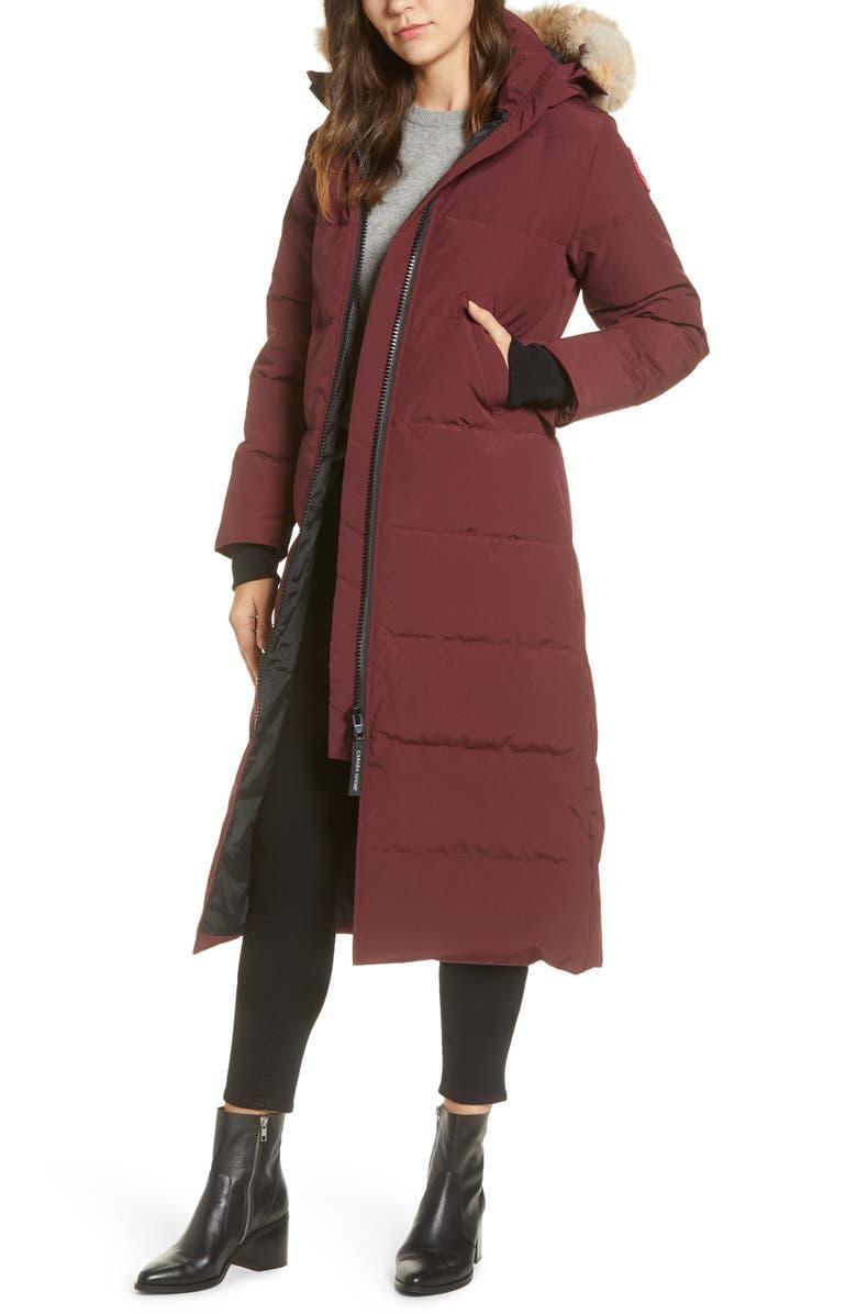 CANADA GOOSE Mystique Fusion Fit Down Parka with Genuine Coyote Fur, Main, color, ELDERBERRY
