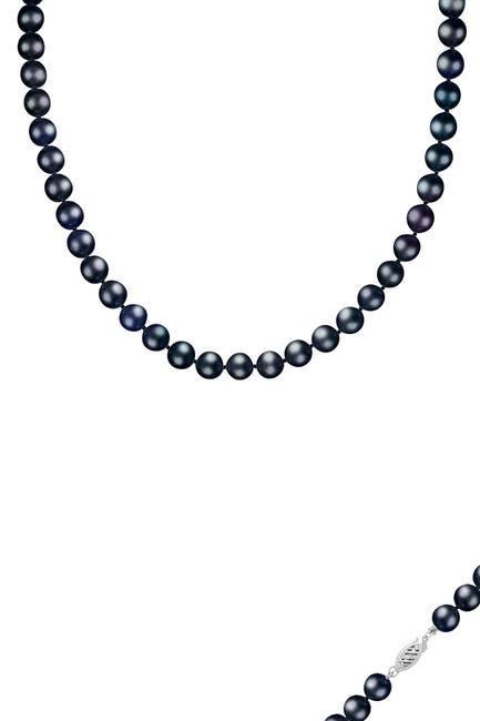 Image of Splendid Pearls 14K White Gold 9-10mm Black Freshwater Pearl Necklace