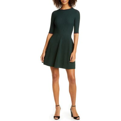 Ted Baker London Renyina Tipped Sweater Skater Dress, (fits like 12 US) - Green