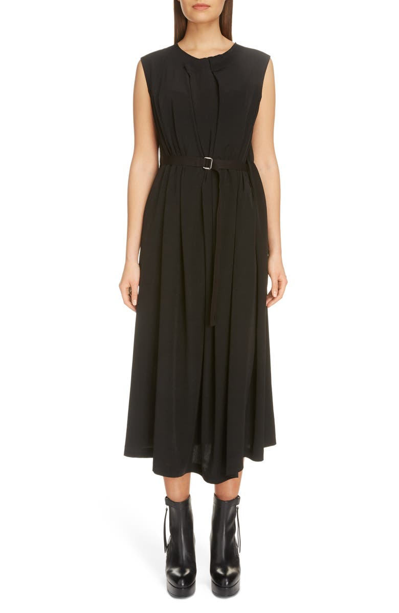 Y'S BY YOHJI YAMAMOTO Pleated Crêpe de Chine Midi Dress, Main, color, BLACK