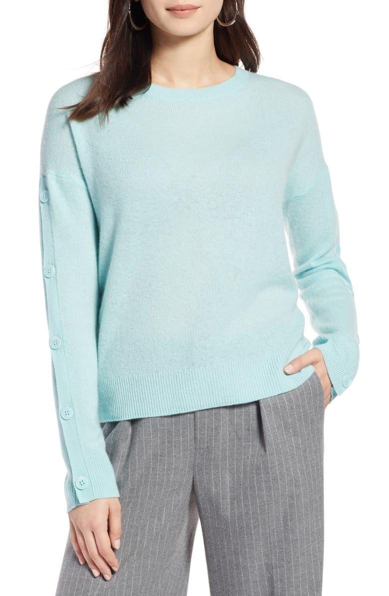 HALOGEN<SUP>®</SUP> Cashmere Button Sleeve Sweater, Main, color, BLUE RESORT