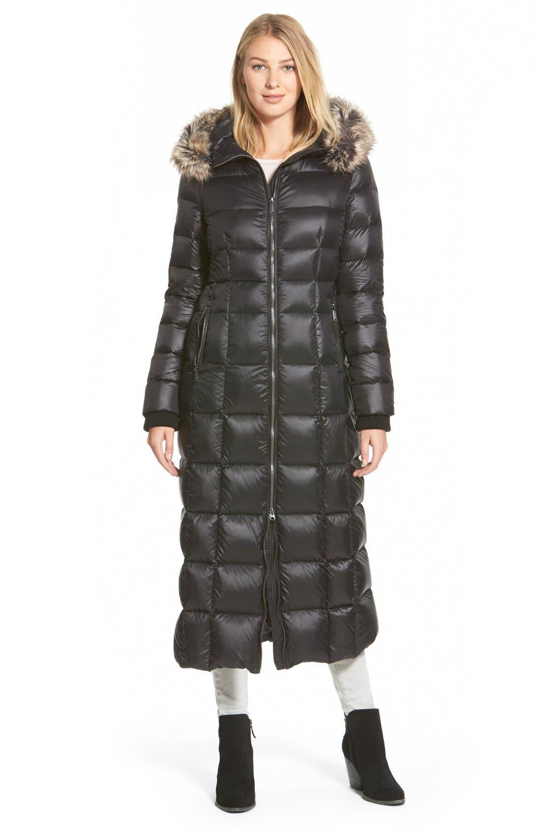 FauxFur Trim Hooded Down Maxi Coat, Main, color, 001