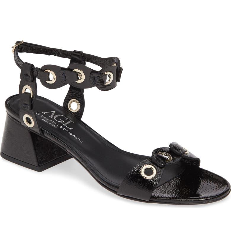 AGL Grommet Quarter Strap Sandal, Main, color, BLACK PATENT