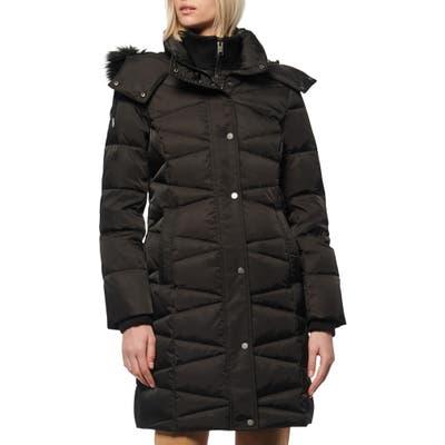 Marc New York Malabar Faux Fur Trim Down & Feather Coat, Black