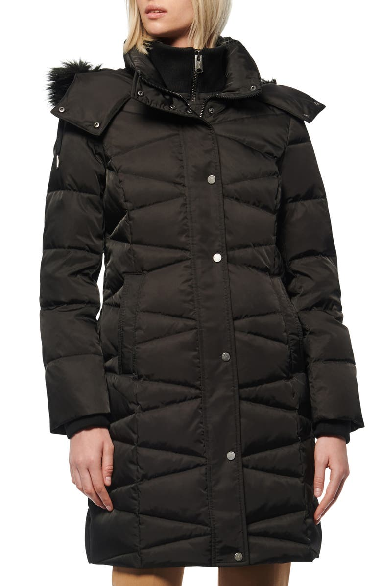MARC NEW YORK Malabar Faux Fur Trim Down & Feather Coat, Main, color, BLACK