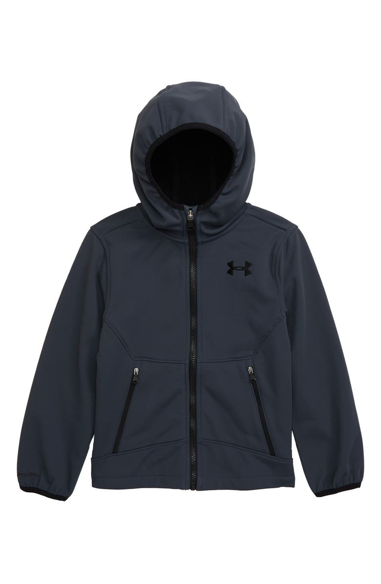 UNDER ARMOUR Sim Front Zip Hooded Jacket, Main, color, STEALTH GRAY