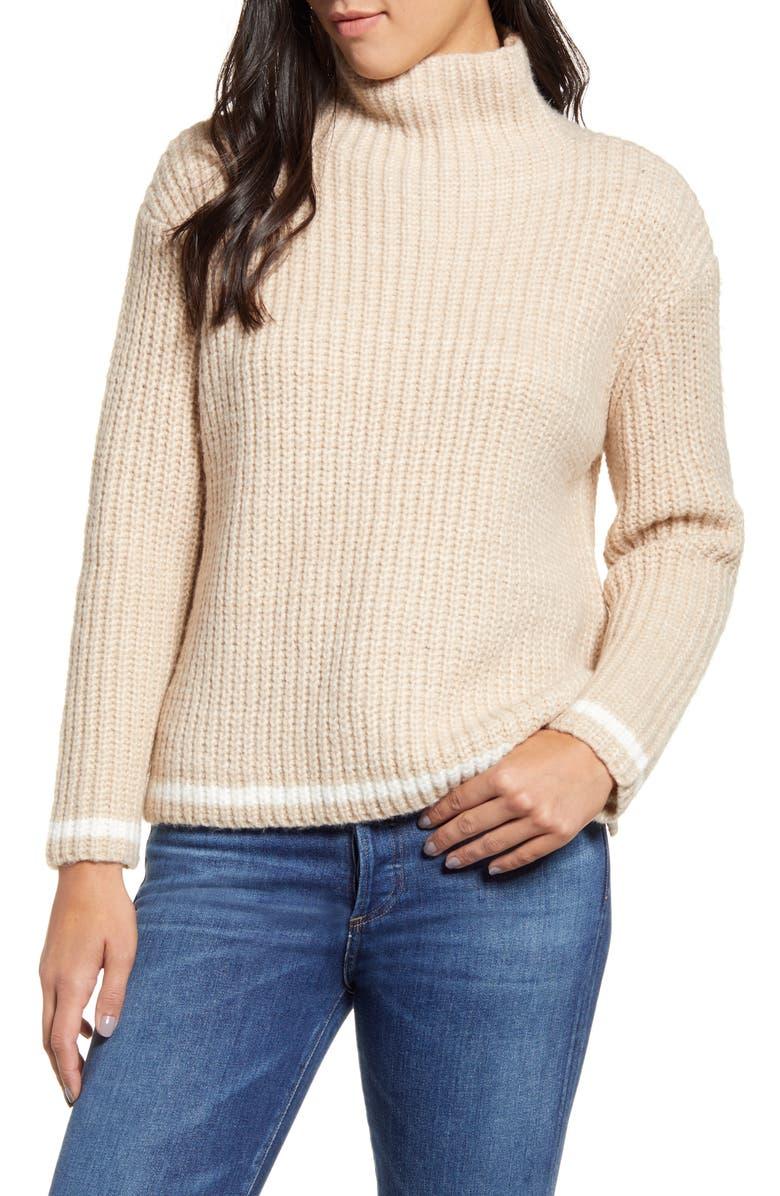 PRESS Shaker Stitch Funnel Neck Tipped Sweater, Main, color, STONE CREAM MIX