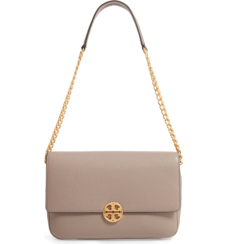 TORY BURCH Chelsea Leather Shoulder/Crossbody Bag, Main, color, GRAY HERON
