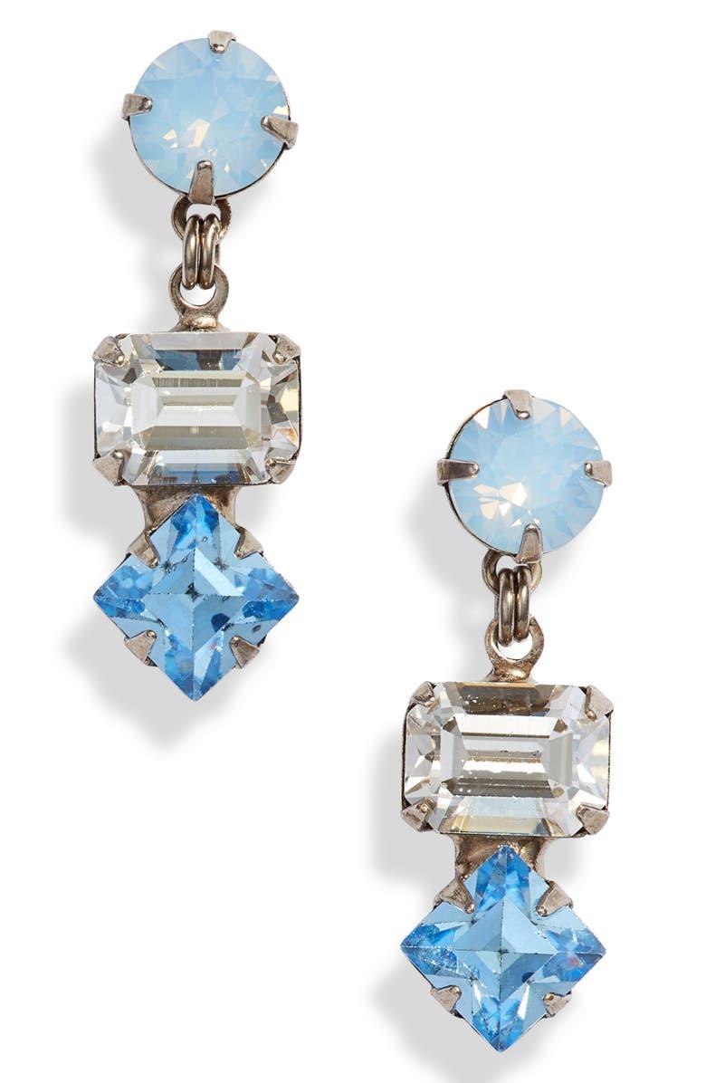 SORRELLI Geometric Crystal Drop Earrings, Main, color, BLUE