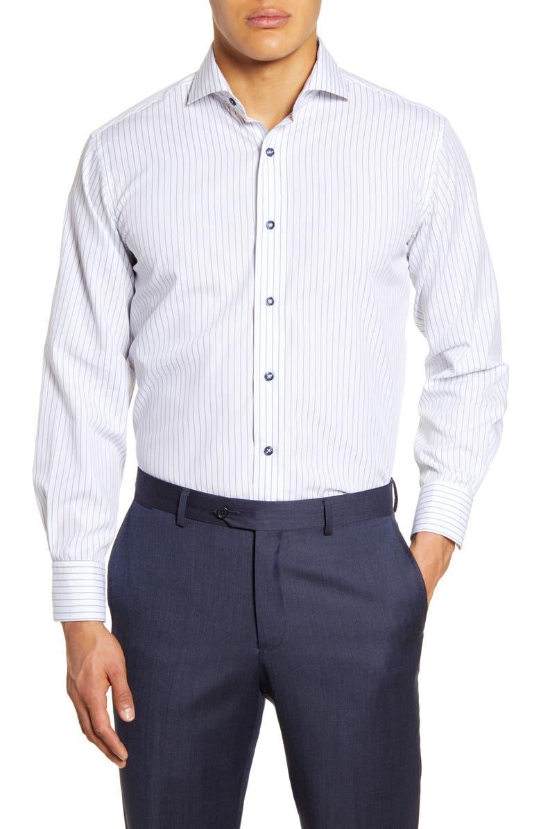 LORENZO UOMO Trim Fit Stripe Dress Shirt, Main, color, WHITE/ BLUE