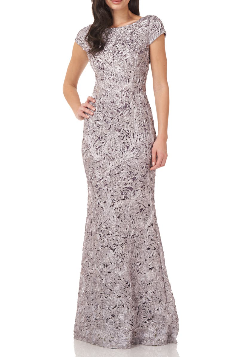 JS COLLECTIONS Embroidered Short Sleeve Trumpet Gown, Main, color, DUSTY LAVENDER