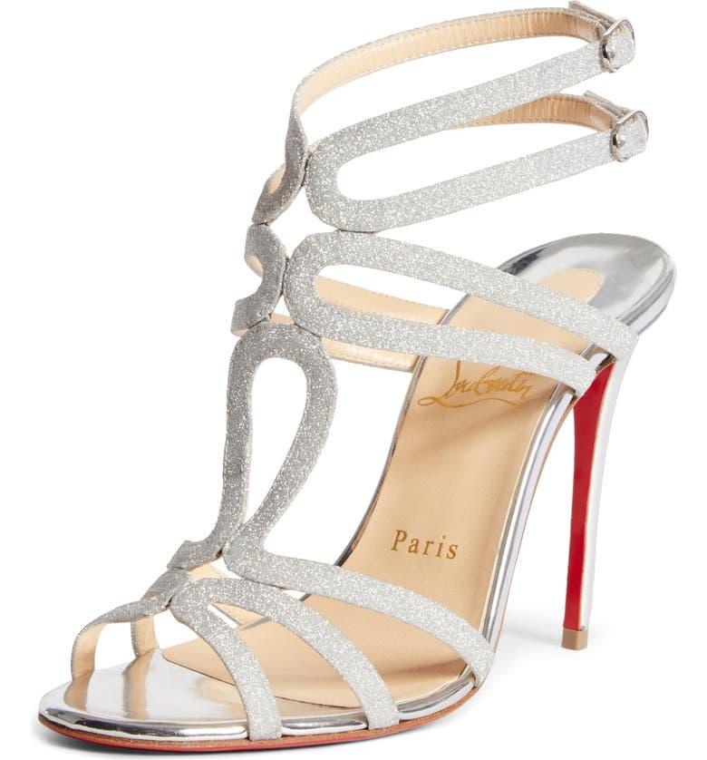 CHRISTIAN LOUBOUTIN Renee Glitter Sandal, Main, color, SILVER