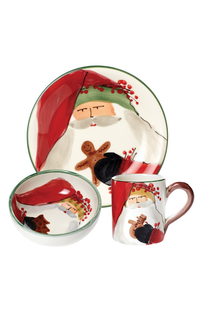 VIETRI Old St. Nick Bambini Plate, Mug & Bowl Set, Main, color, 100
