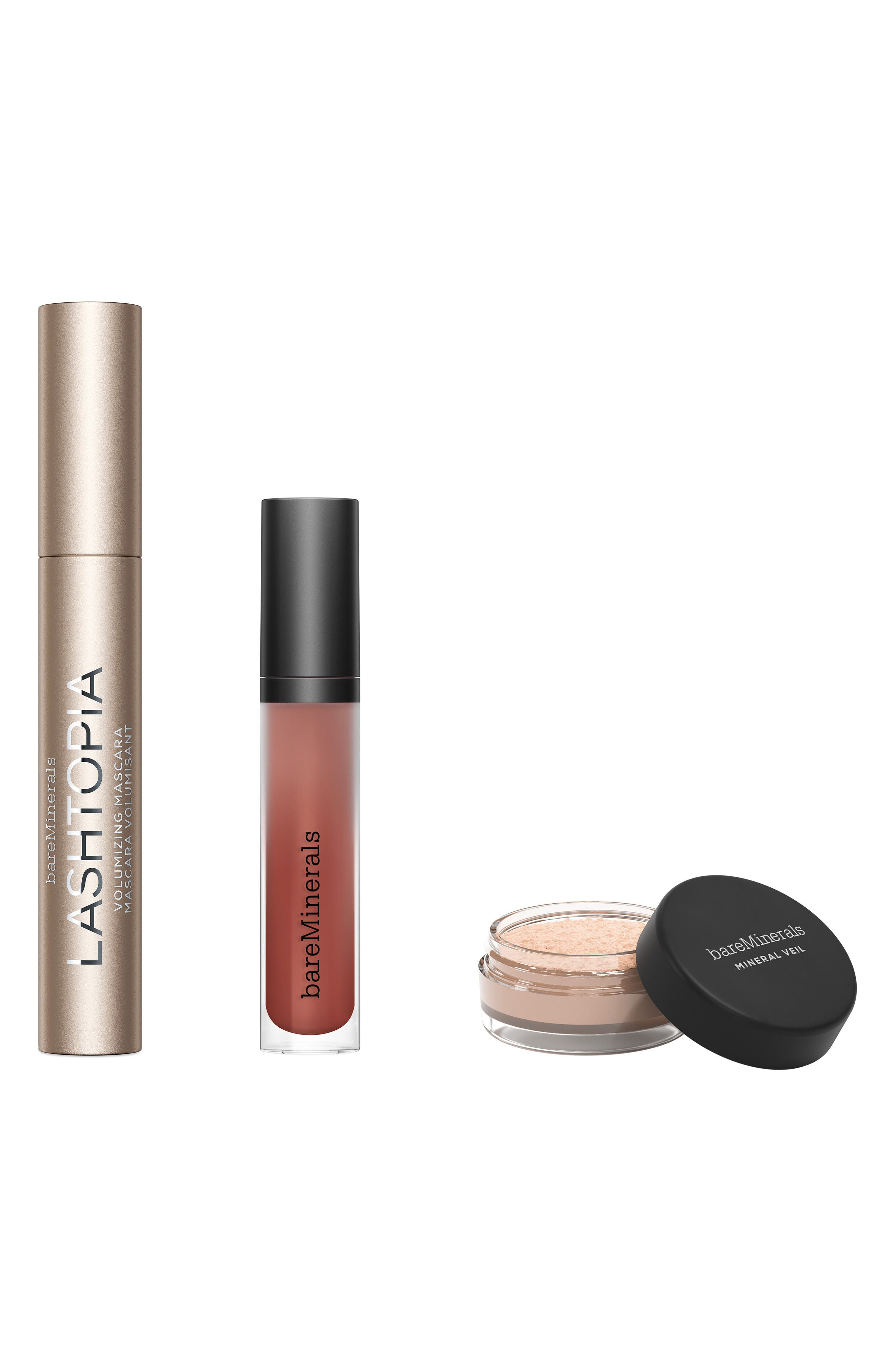 What it is: A limited-edition set featuring three makeup favorites in full and travel sizes, wrapped up in eco-friendly packaging. Set includes:- Full-size Lashtopia Mega Volume Mineral-Based Mascara (0.4 oz.): a lash-loving mascara that adds a boost of volume to your lashes- Full-size Gen Nude Matte Liquid Lipcolor in Bo$$ (0.12 oz.): a vegan liquid lipstick that provides full-coverage cream-to-matte color- Travel-size Mineral Veil Finishing