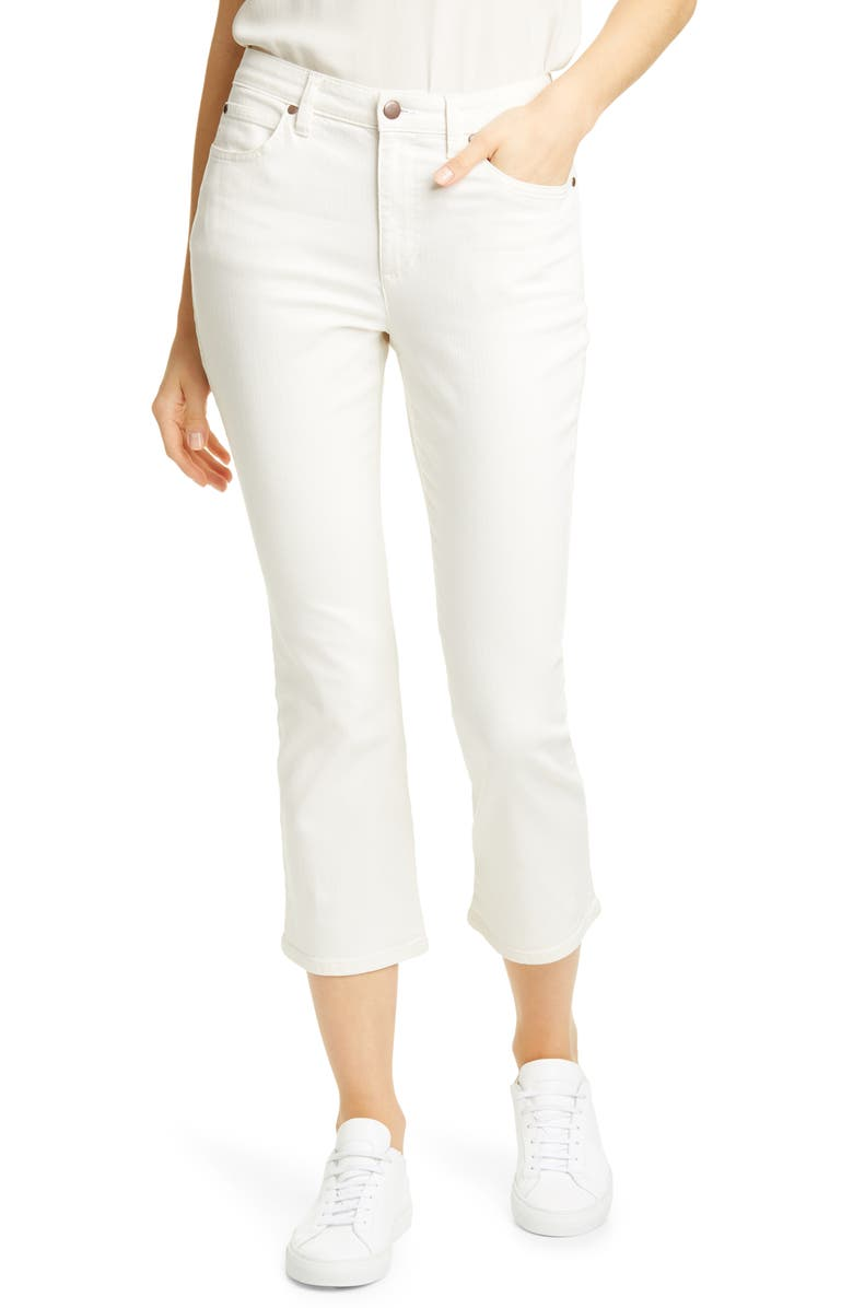 EILEEN FISHER Stretch Organic Cotton Crop Flare Jeans, Main, color, UNDYED NATURAL