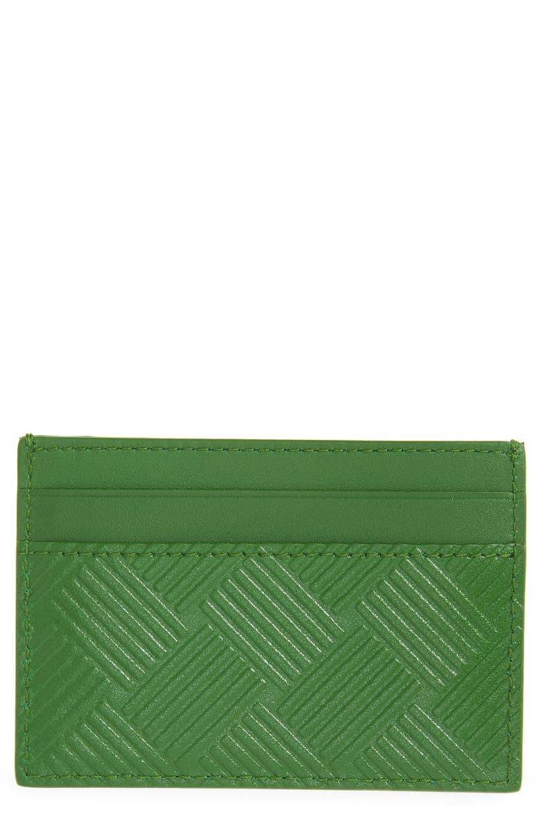 BOTTEGA VENETA Intrecciato Embossed Leather Card Case, Main, color, LAWN-SILVER