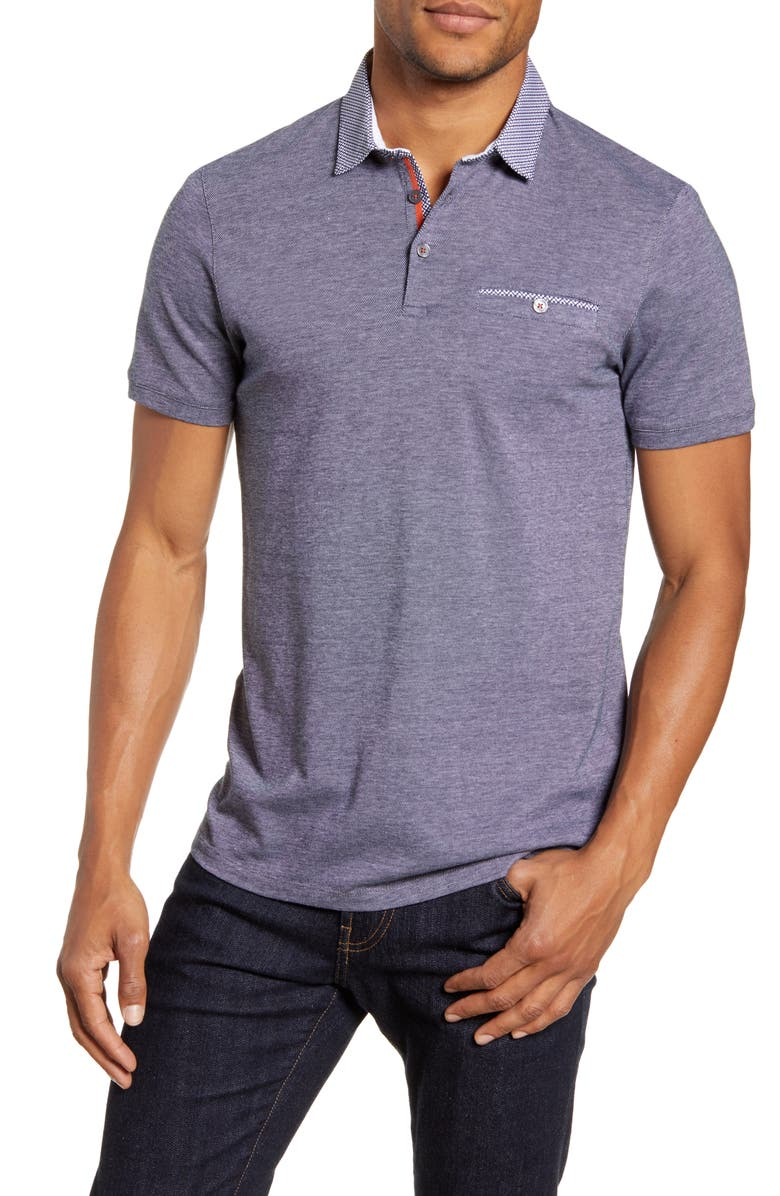 TED BAKER LONDON Levels Slim Fit Pocket Bird's Eye Polo, Main, color, 410