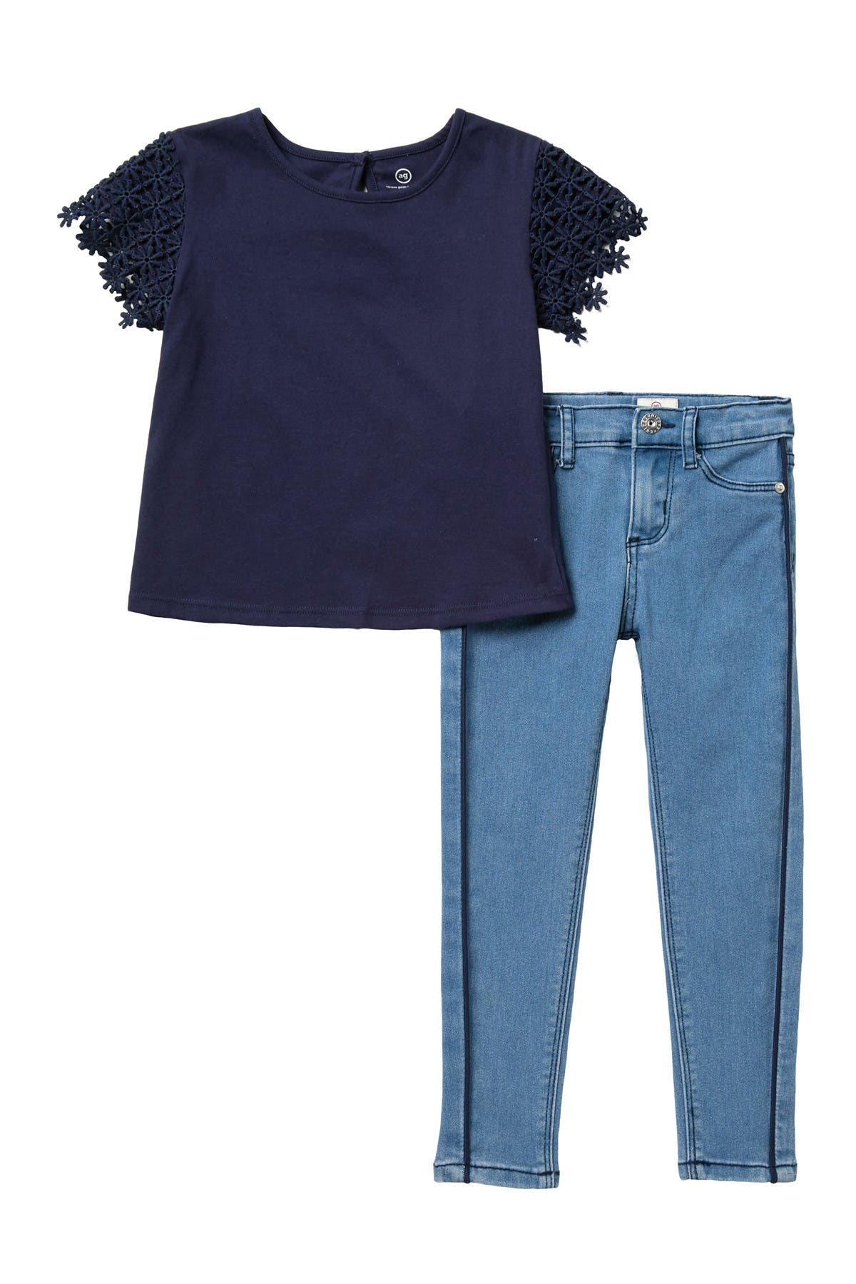 Image of AG Lace Sleeve Top & Jeans Set