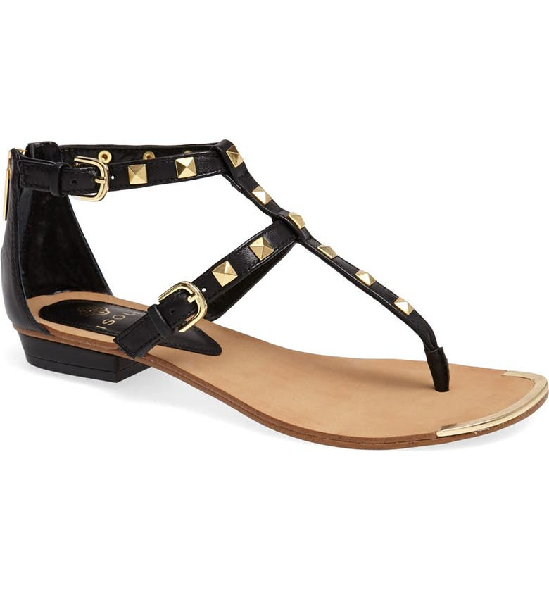 ISOLÁ 'Adie' Studded Leather Thong Sandal, Main, color, 001
