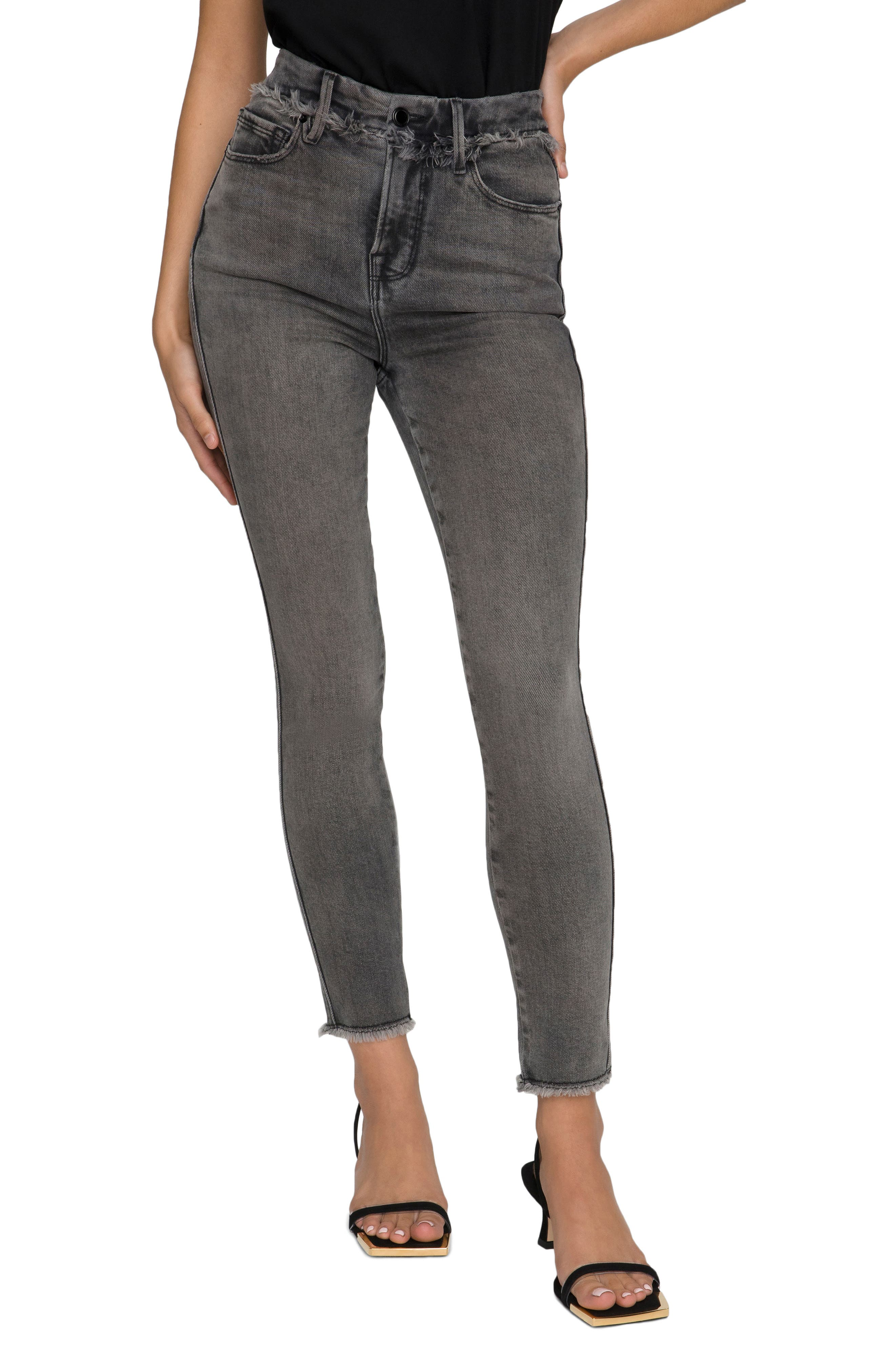 Women's Good American Good Curve Frayed Ankle Skinny Jeans