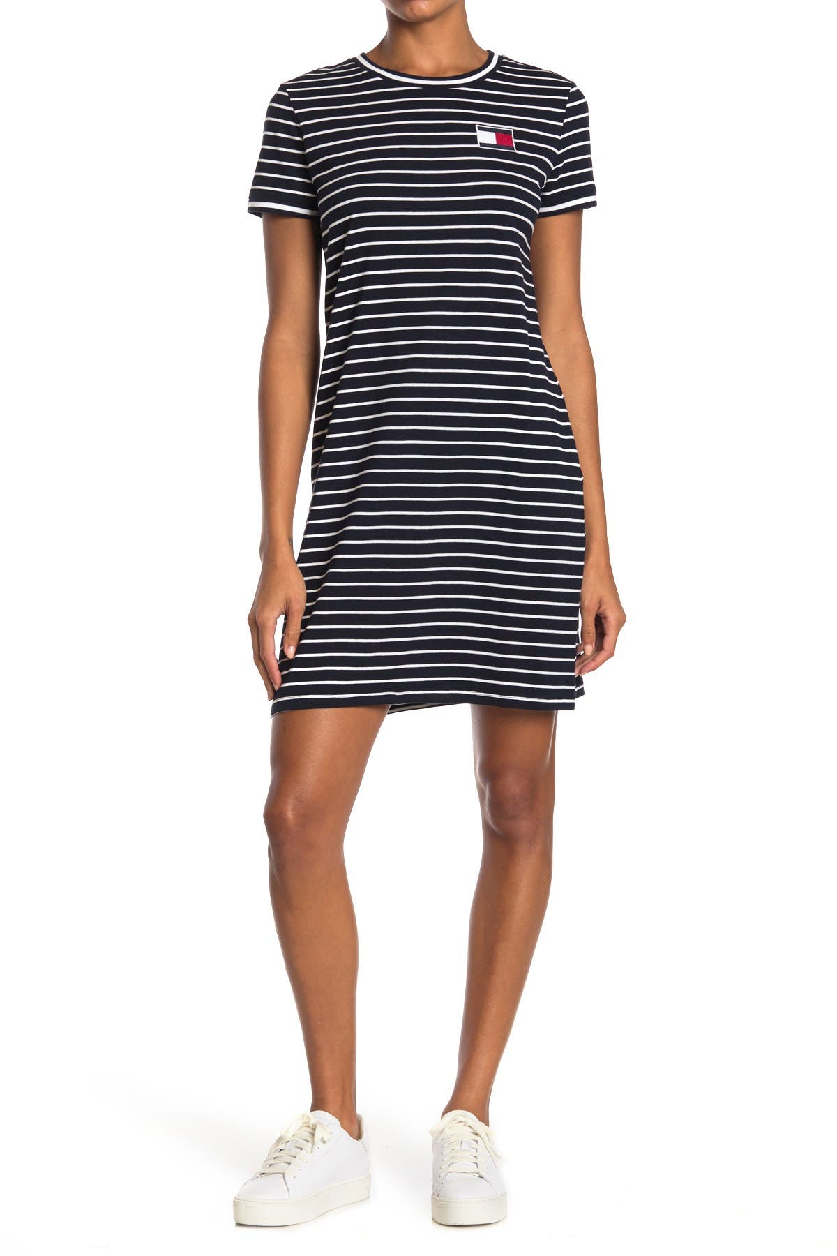 Image of Tommy Hilfiger Striped Crew Neck T-Shirt Dress