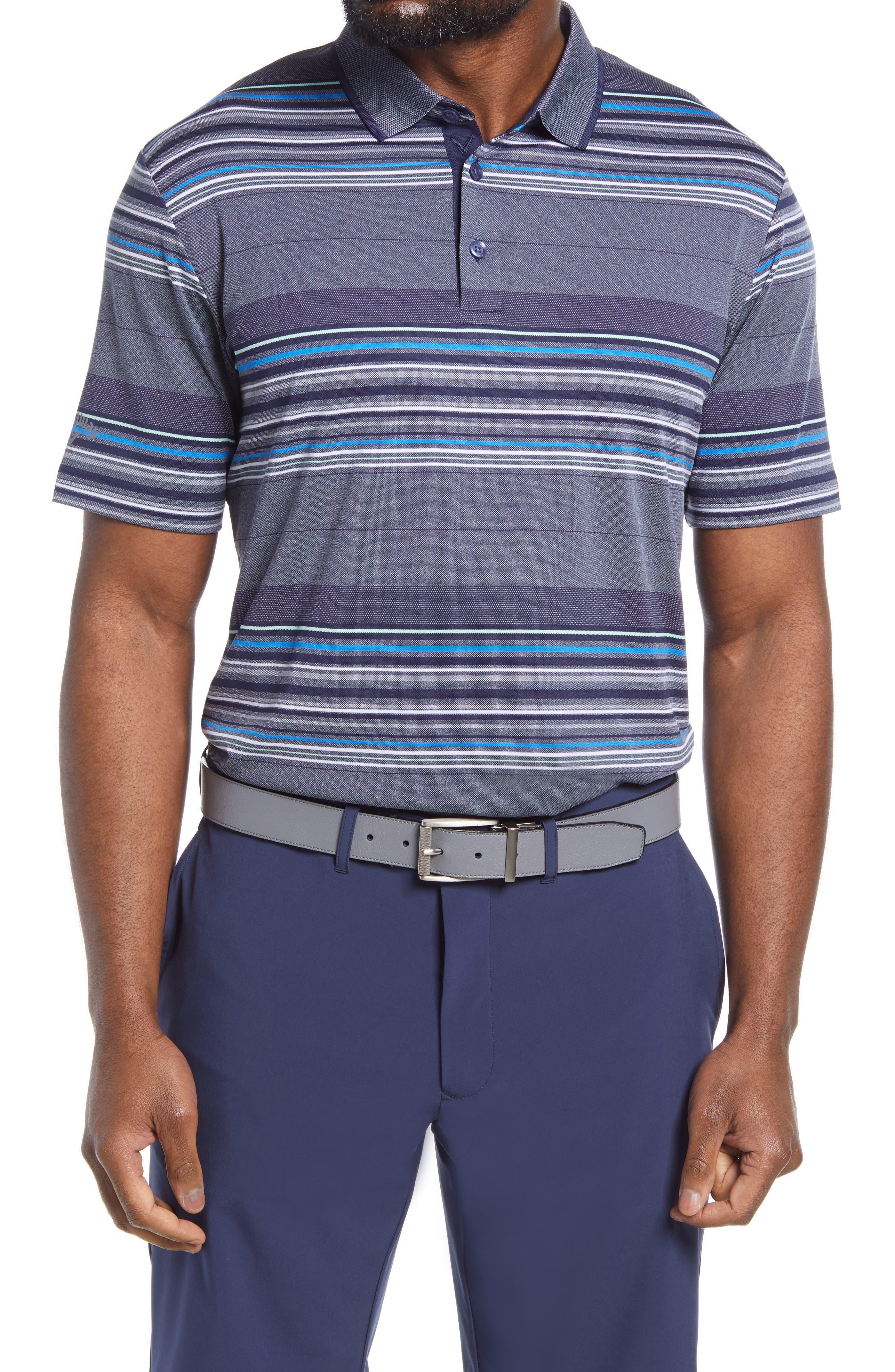 Men's Callaway Golf Swing Tech(TM) Oxford Stripe Performance Golf Polo