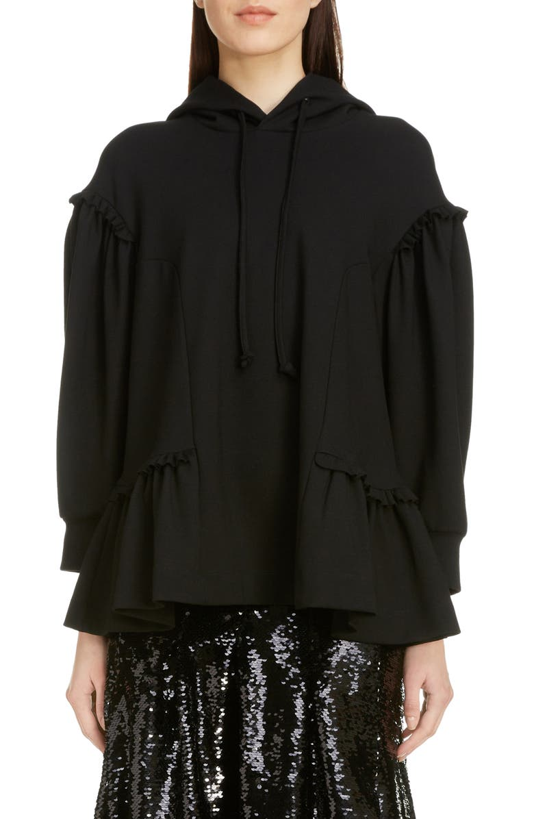 SIMONE ROCHA Side Frill Jersey Hoodie, Main, color, BLACK