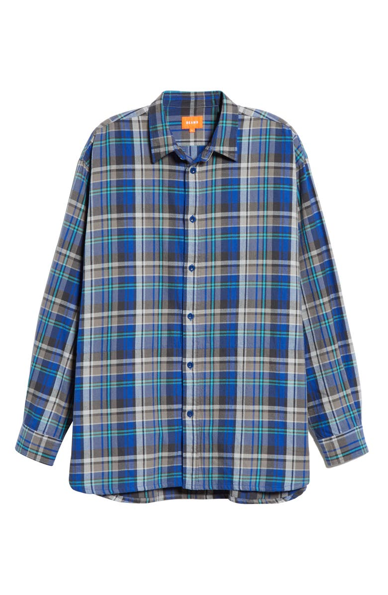 BEAMS Check Flannel Long Sleeve Button-Up Shirt, Main, color, 400