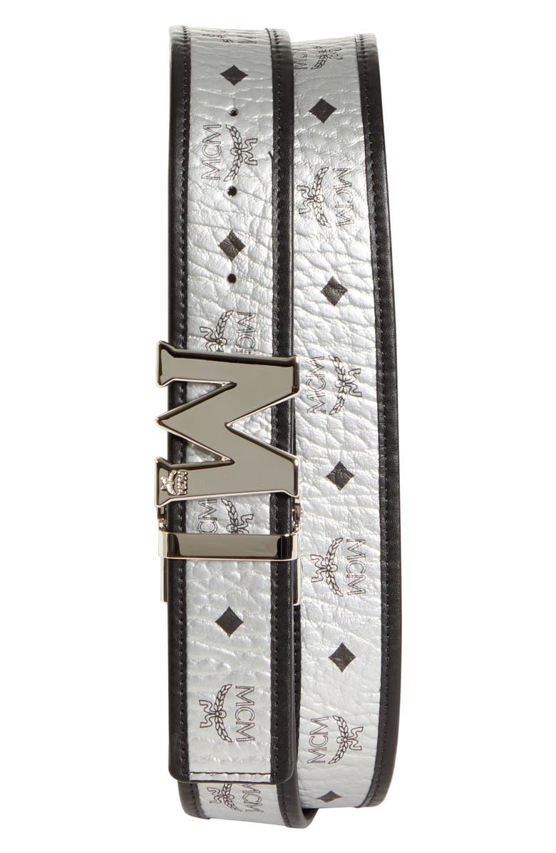 MCM Visetos Reversible Belt, Main, color, BLACK
