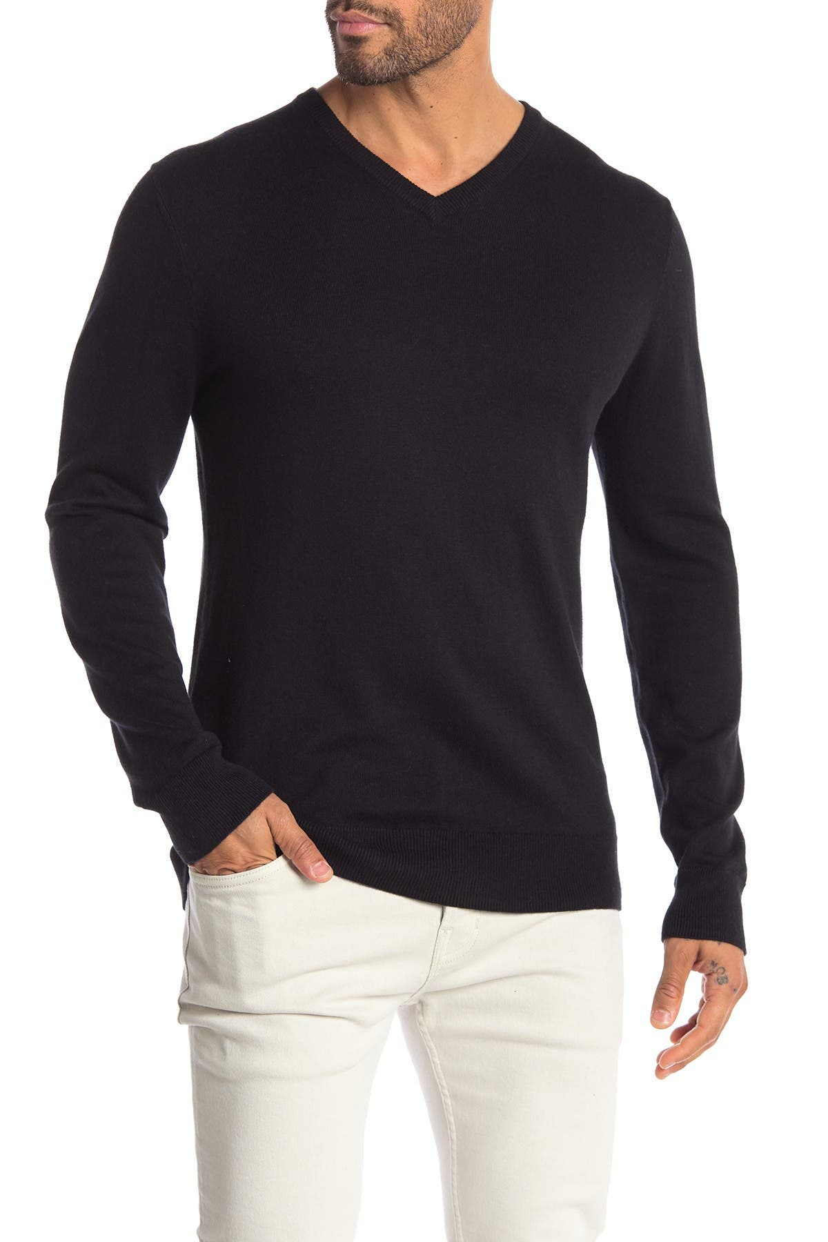 Image of WALLIN & BROS Solid V-Neck Sweater