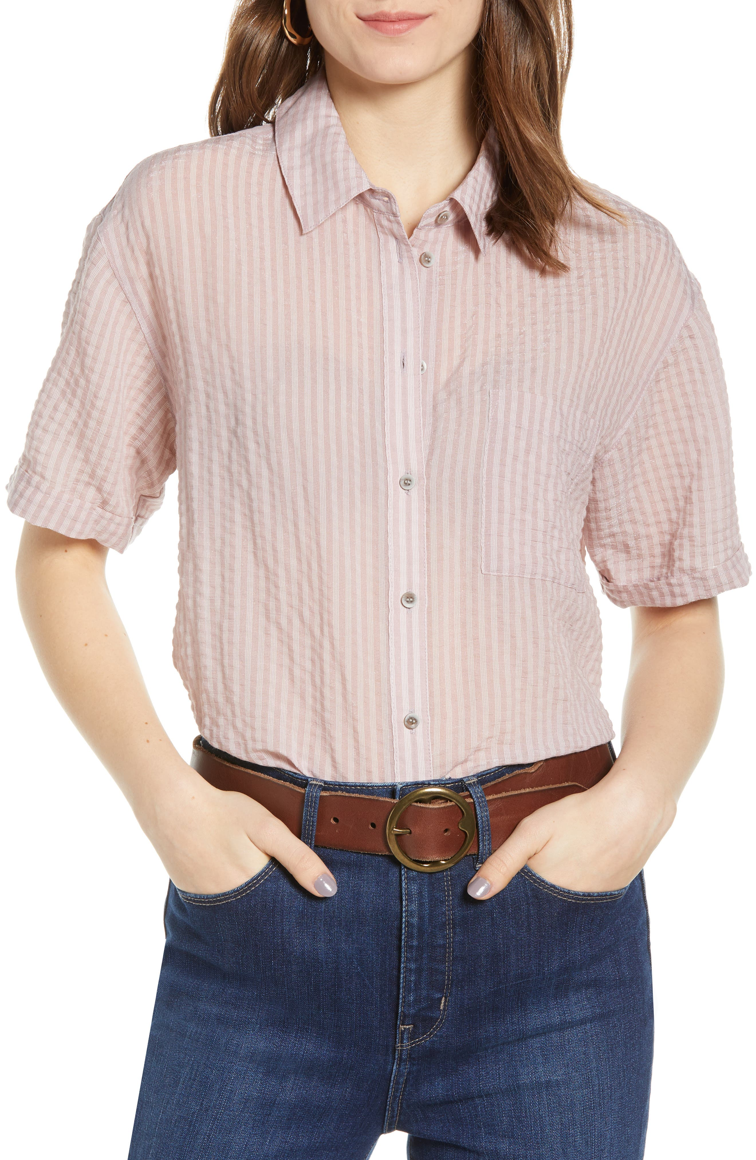 Stripe Short Sleeve Shirt, Main, color, PINK CANYON CLOUD STRIPE