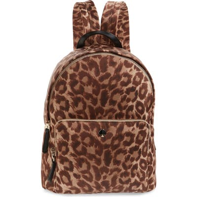Kate Spade New York Large Taylor Leopard Nylon Backpack - Beige