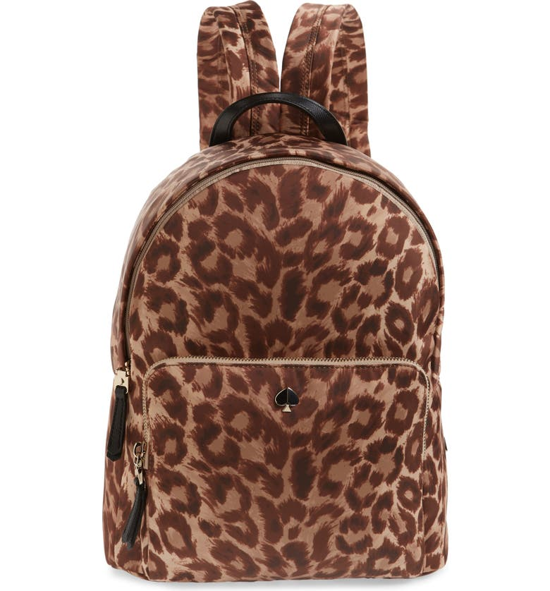 KATE SPADE NEW YORK large taylor leopard nylon backpack, Main, color, NATURAL MULTI