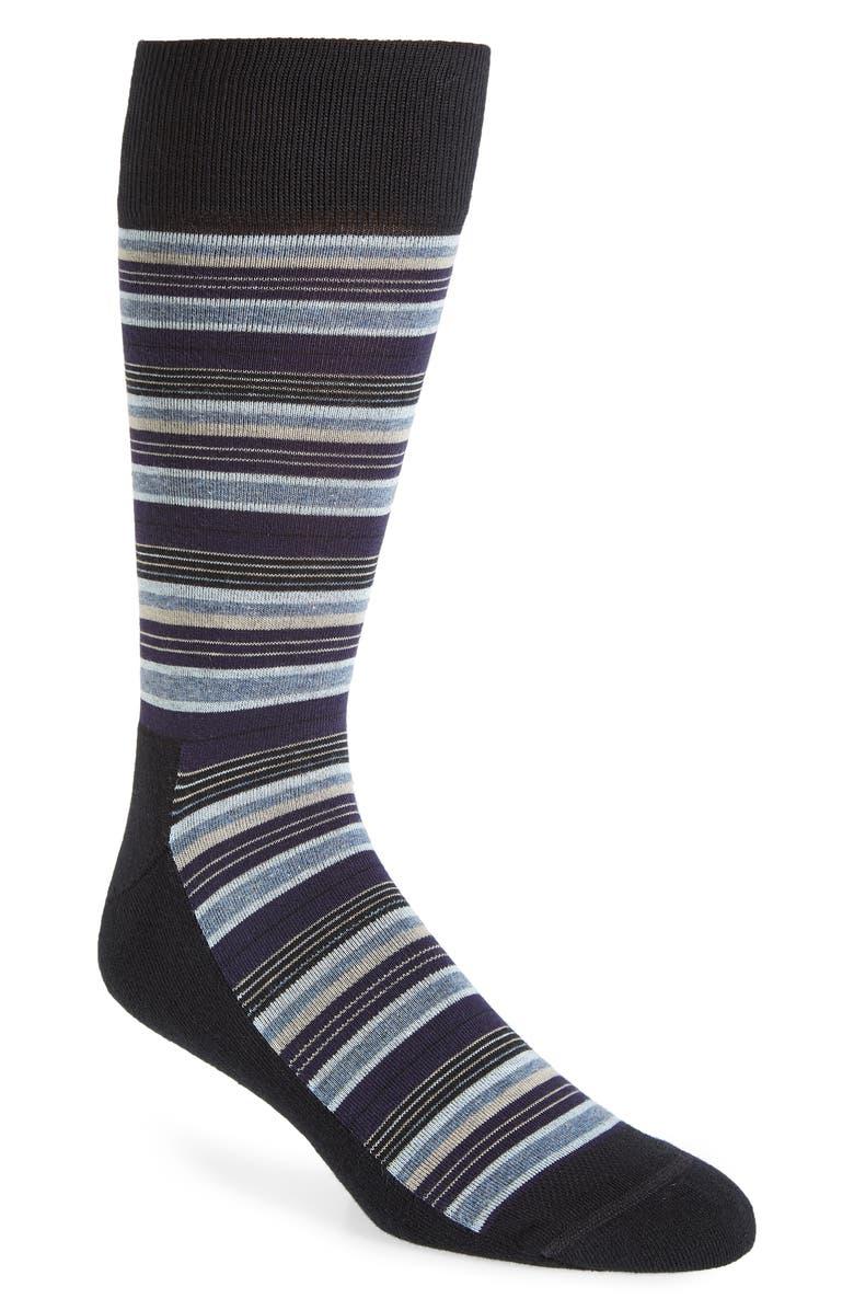NORDSTROM MEN'S SHOP Multi Stripe Socks, Main, color, BLACK/ BLUE
