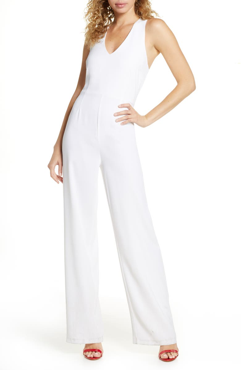 BB DAKOTA Just One Look Stretch Crepe Jumpsuit, Main, color, OPTIC WHITE